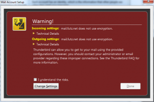 Encryption warning dialog in Thunderbird
