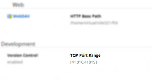 TCP port range available within the control panel under Account > Summary > Development.