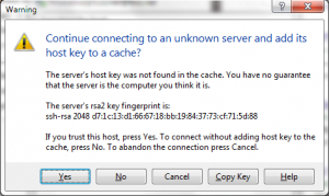A notice first presented by a self-signed certificate installed on the FTP server.