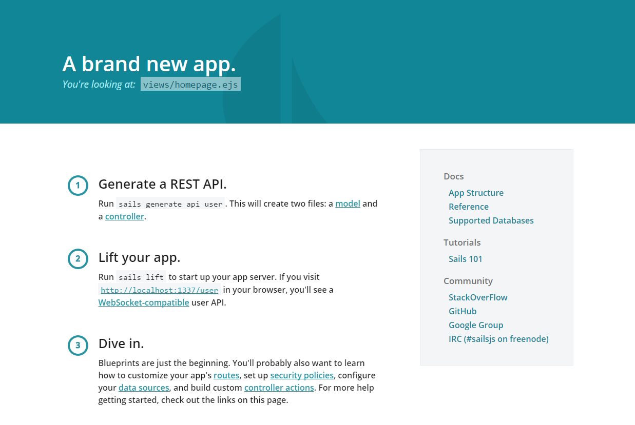 Default welcome screen for a newly minted Sails application