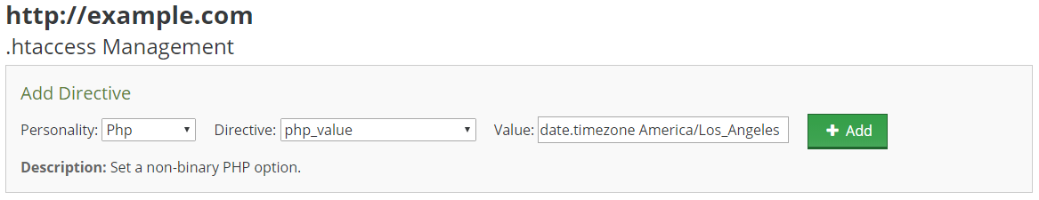 Setting default timezone for a given PHP application within the control panel .htaccess manager.